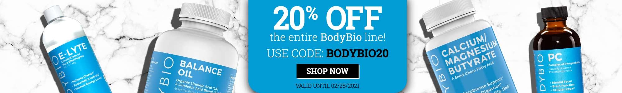 20% off entire BodyBio line. Use Coupon code: bodybio20 Shop now. Valid until 02/28/2021.