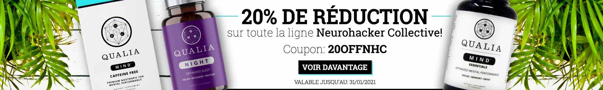 20% de réduction sur toute la ligne Neurohacker Collective. Coupon: 20offnhc Voir davantage. Valable jusqu'au 31/01/2021.