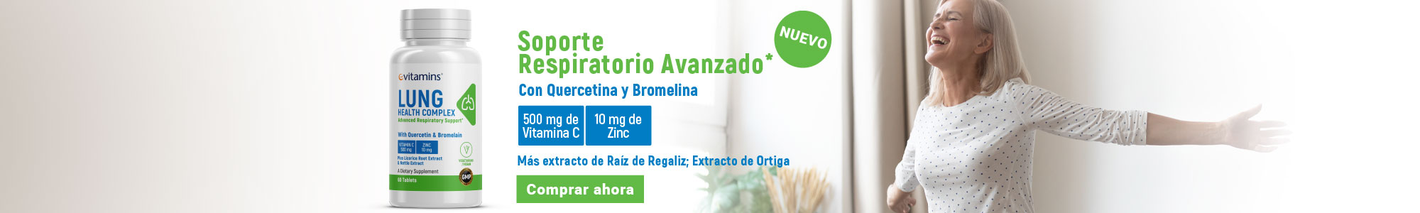 Soporte Respiratorio Avanzado* Con Quercetina y Bromelina 500 mg de Vitamina C, 10 mg de Zinc,  Más extracto de Raíz de Regaliz; Extracto de Ortiga Comprar ahora